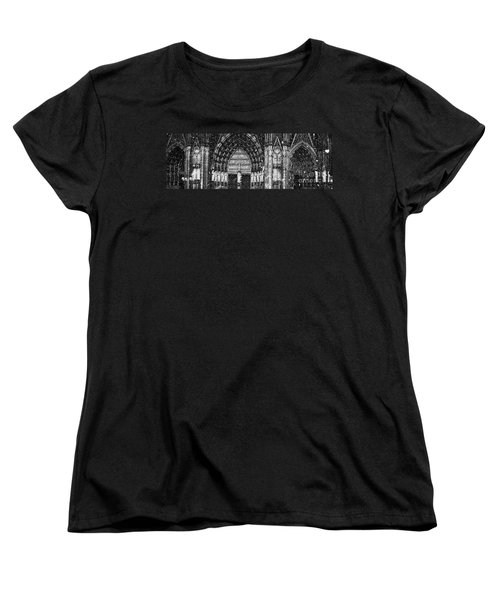 Women's T-Shirt (Standard Cut) featuring the photograph Cathedral In The Snow Panorama by Andy Prendy