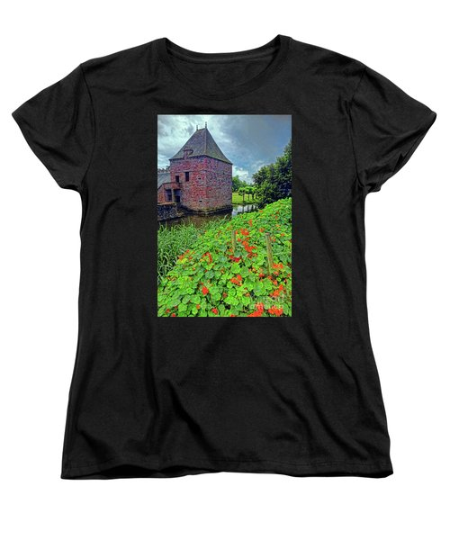 Women's T-Shirt (Standard Cut) featuring the photograph Chateau Tower And Nasturtiums by Dave Mills