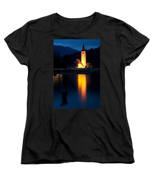 Church At Dusk Women's T-Shirt (Standard Cut) by Ian Middleton