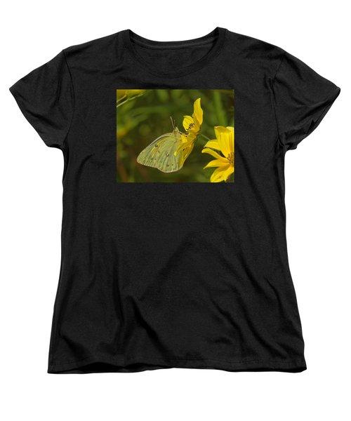 Clouded Sulphur Butterfly Din099 Women's T-Shirt (Standard Cut) by Gerry Gantt