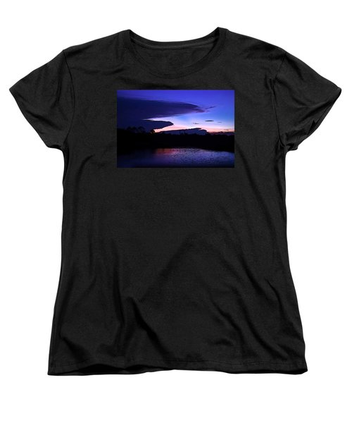 Women's T-Shirt (Standard Cut) featuring the photograph Clouded Sunset Over The Tomoka by DigiArt Diaries by Vicky B Fuller