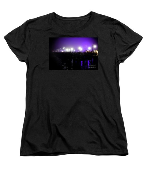 Women's T-Shirt (Standard Cut) featuring the photograph Cool Night At Santa Monica Pier by Clayton Bruster