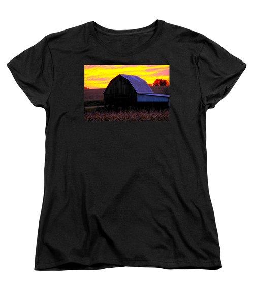 Women's T-Shirt (Standard Cut) featuring the photograph Cornfield Barn Sky by Randall Branham