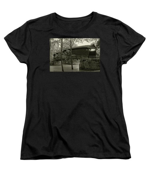 Women's T-Shirt (Standard Cut) featuring the photograph Covered Bridge by Mary Almond