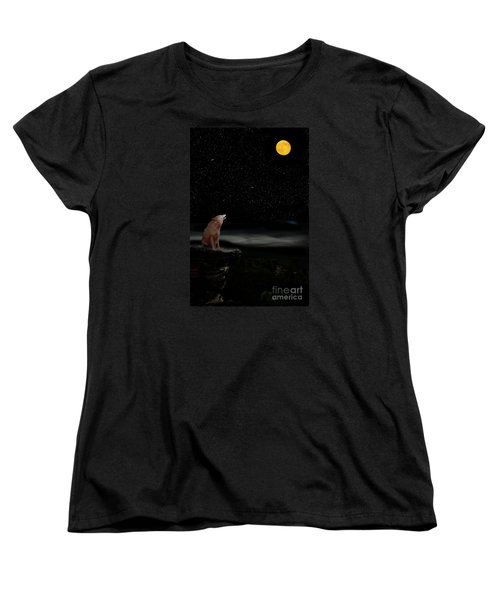 Women's T-Shirt (Standard Cut) featuring the photograph Coyote Howling At Moon by Dan Friend