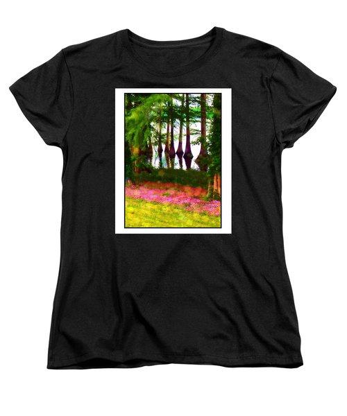 Cypress With Oxalis Women's T-Shirt (Standard Cut) by Judi Bagwell