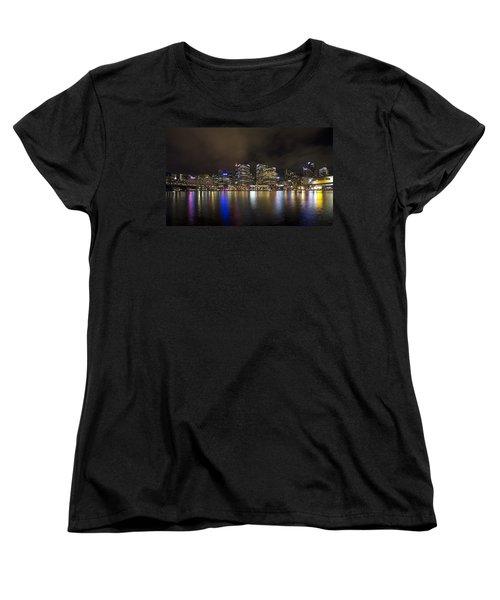 Darling Harbor Sydney Skyline Women's T-Shirt (Standard Cut) by Douglas Barnard