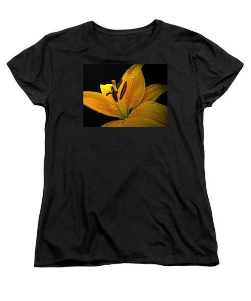 Women's T-Shirt (Standard Cut) featuring the photograph Dew On The Daylily by Debbie Portwood
