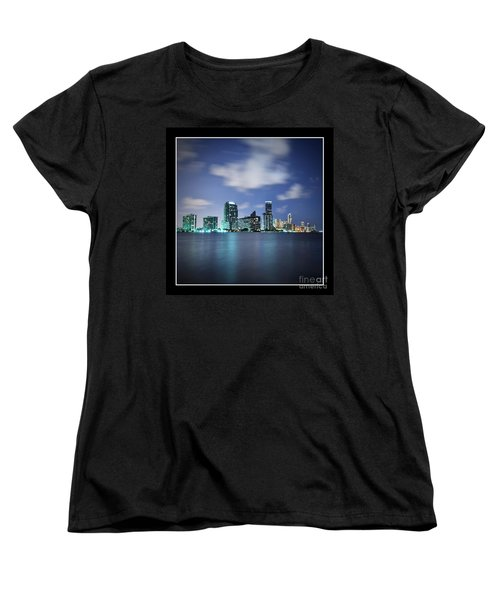 Women's T-Shirt (Standard Cut) featuring the photograph Downtown Miami At Night by Carsten Reisinger