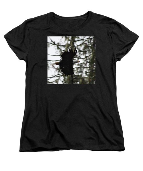 Women's T-Shirt (Standard Cut) featuring the photograph Eagle Fly By by Cathie Douglas