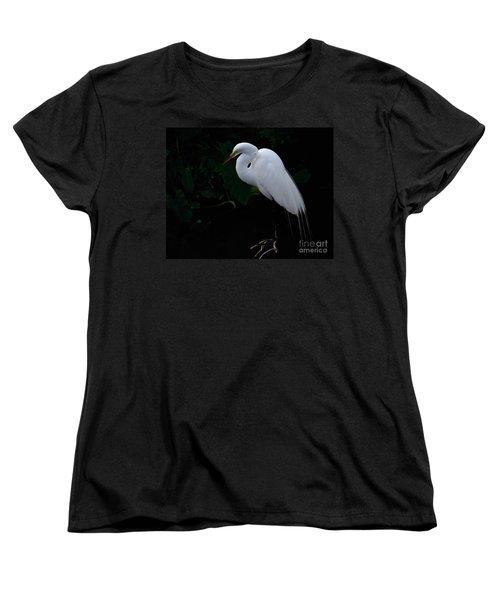 Egret On A Branch Women's T-Shirt (Standard Cut) by Art Whitton