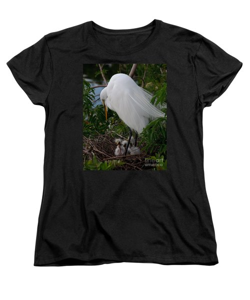 Women's T-Shirt (Standard Cut) featuring the photograph Egret With Chicks by Art Whitton