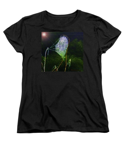 Women's T-Shirt (Standard Cut) featuring the photograph Electric Web In The Fog by EricaMaxine  Price