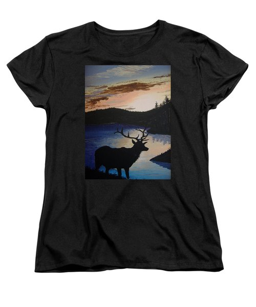 Women's T-Shirt (Standard Cut) featuring the painting Elk At Sunset by Norm Starks