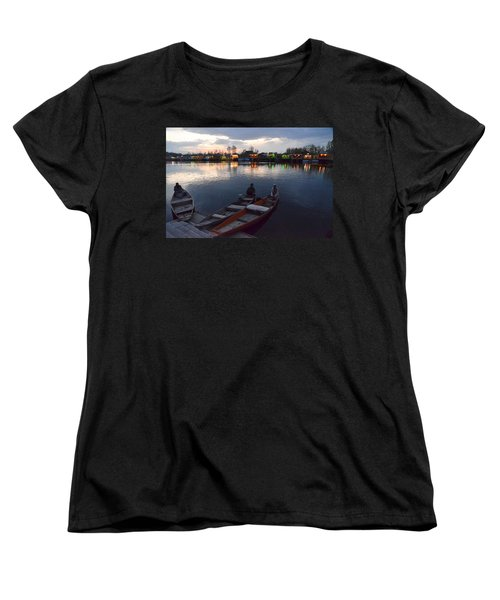 Evening On Dal Lake Women's T-Shirt (Standard Cut) by Fotosas Photography