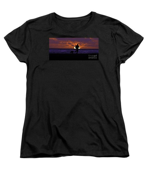 Women's T-Shirt (Standard Cut) featuring the photograph Evening Run On The Beach by Clayton Bruster