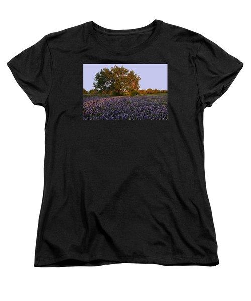 Field Of Blue Women's T-Shirt (Standard Cut) by Susan Rovira