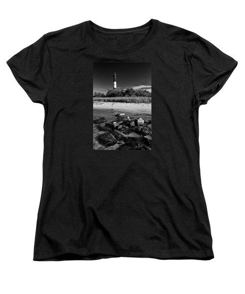 Fire Island In Black And White Women's T-Shirt (Standard Cut)