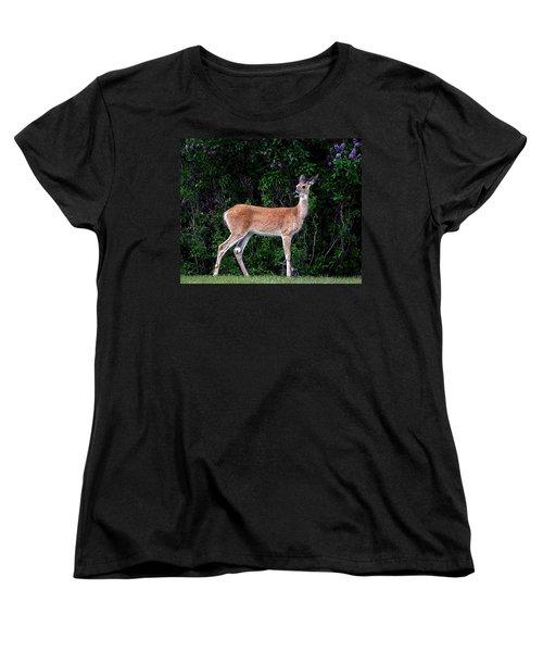 Flower Deer Women's T-Shirt (Standard Cut) by Steve McKinzie