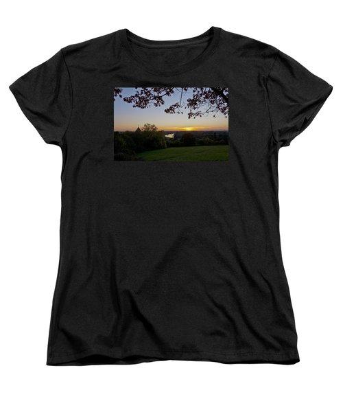 Women's T-Shirt (Standard Cut) featuring the photograph Framed Sunset by Maj Seda