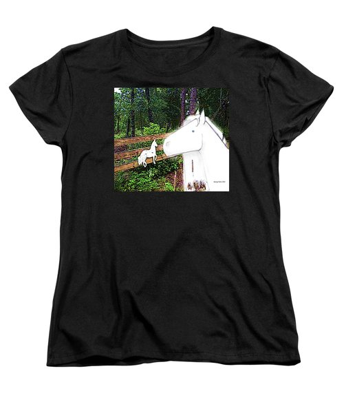 Women's T-Shirt (Standard Cut) featuring the drawing Ghost Horse by George Pedro