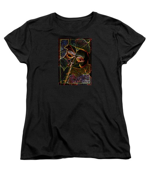 Women's T-Shirt (Standard Cut) featuring the relief Glowing Mask With Leaves by Nareeta Martin