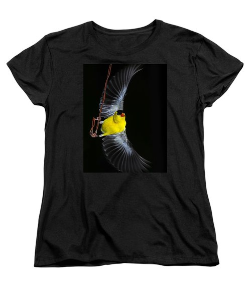Women's T-Shirt (Standard Cut) featuring the photograph Goldfinch High Wire Act by Randall Branham