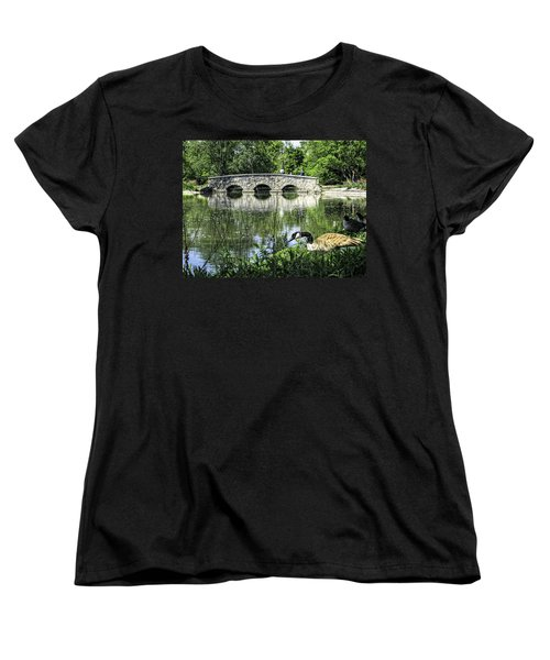 Women's T-Shirt (Standard Cut) featuring the photograph Goose And Bridge At Silver Lake by Tom Gort
