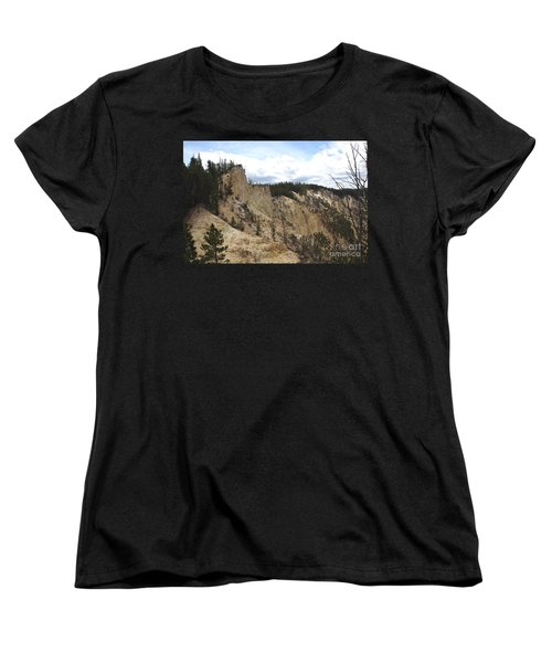 Grand Canyon Cliff In Yellowstone Women's T-Shirt (Standard Cut) by Living Color Photography Lorraine Lynch