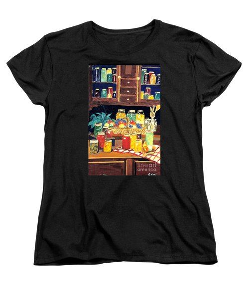 Women's T-Shirt (Standard Cut) featuring the painting Granny's Cupboard by Julie Brugh Riffey