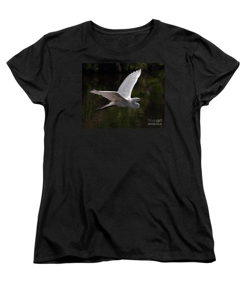 Great Egret Flying Women's T-Shirt (Standard Cut) by Art Whitton