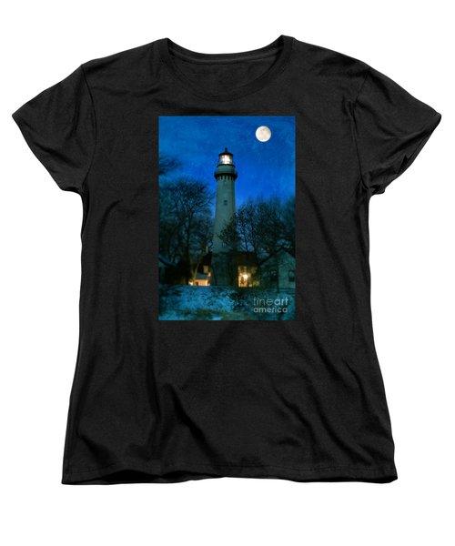Grosse Point Lighthouse Before Dawn Women's T-Shirt (Standard Cut) by Jill Battaglia