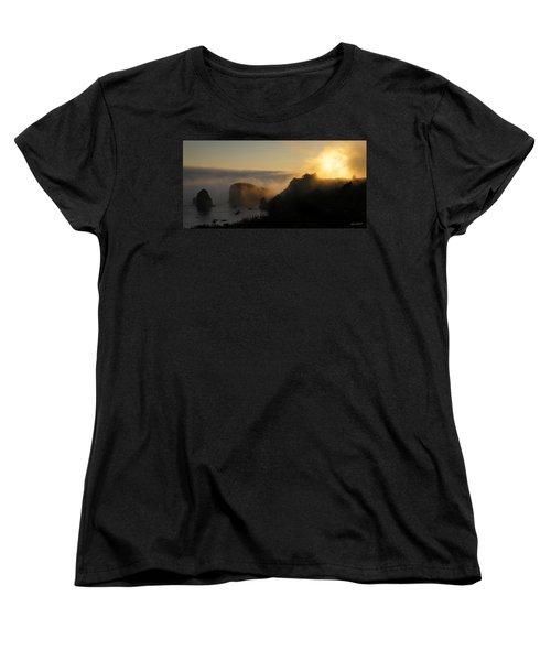 Harris Beach Sunset Panorama Women's T-Shirt (Standard Cut) by Mick Anderson