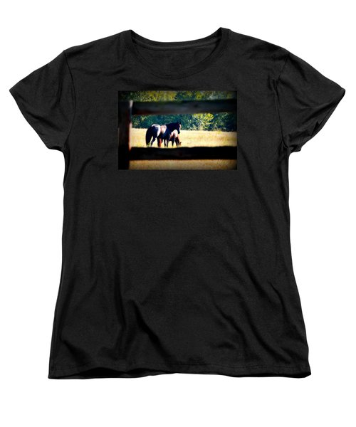 Women's T-Shirt (Standard Cut) featuring the photograph Horse Photography by Peggy Franz