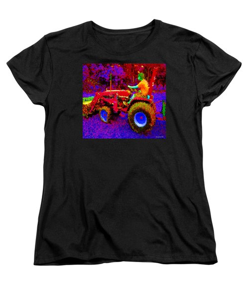 Women's T-Shirt (Standard Cut) featuring the photograph Hot Afternoon On A John Deere Tractor by George Pedro