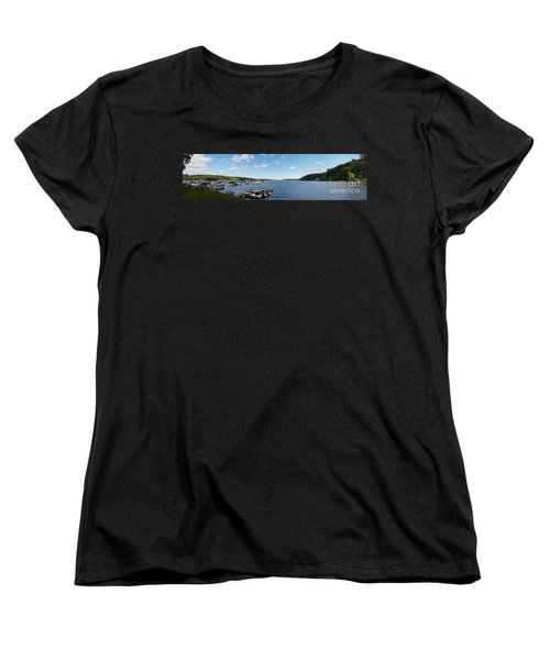 Women's T-Shirt (Standard Cut) featuring the photograph Irondequoit Bay Panorama by William Norton