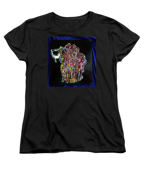 Women's T-Shirt (Standard Cut) featuring the painting Japanese Opera - Noh by Gloria Ssali