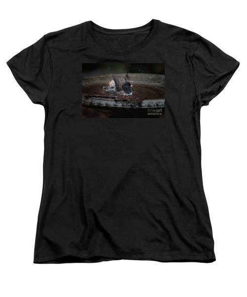Women's T-Shirt (Standard Cut) featuring the digital art Junco In The Birdbath by Carol Ailles