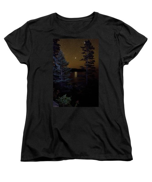 Jupiter Rising Over Otter Point Women's T-Shirt (Standard Cut) by Brent L Ander