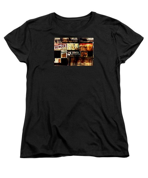 Women's T-Shirt (Standard Cut) featuring the photograph Kentucky Shed Ad Signs by Tom Wurl