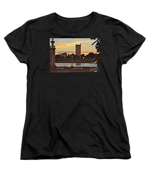 Women's T-Shirt (Standard Cut) featuring the photograph Lake Mirror Sunset by Carol  Bradley