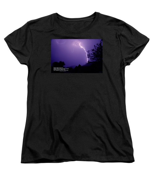 Lightning Over The Rogue Valley Women's T-Shirt (Standard Cut) by Mick Anderson