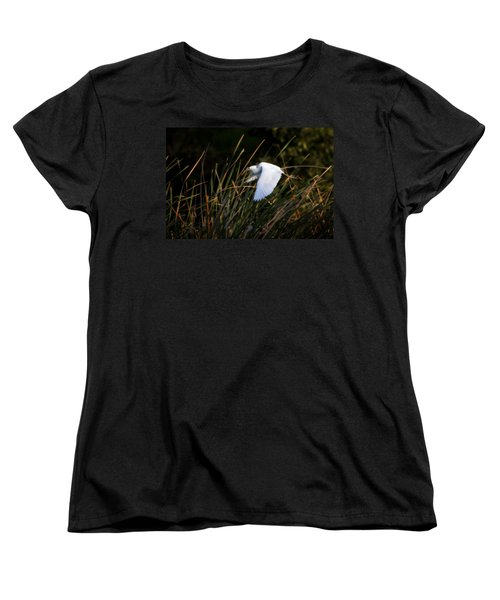 Women's T-Shirt (Standard Cut) featuring the photograph Little Blue Heron Before The Change To Blue by Steven Sparks