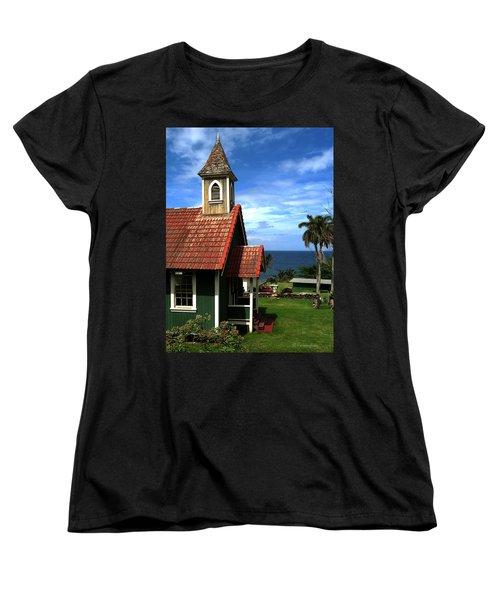 Little Green Church In Hawaii Women's T-Shirt (Standard Cut) by Dorothy Cunningham