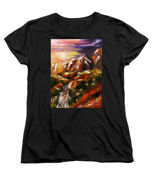 Women's T-Shirt (Standard Cut) featuring the painting Magical Morn by Karen  Ferrand Carroll
