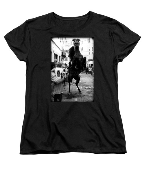 Women's T-Shirt (Standard Cut) featuring the photograph Menorca Horse 3 by Pedro Cardona