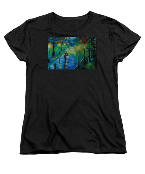 Women's T-Shirt (Standard Cut) featuring the painting Moonlight Stroll Series 1 by Leslie Allen