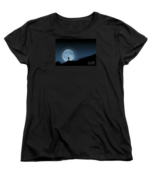 Women's T-Shirt (Standard Cut) featuring the photograph Moonlit Solitude by Steve Purnell