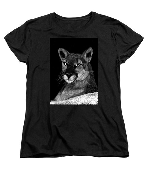 Women's T-Shirt (Standard Cut) featuring the mixed media Mountain Lion by Kume Bryant
