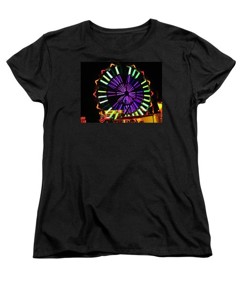 Women's T-Shirt (Standard Cut) featuring the photograph Multi Colored Ferris Wheel by Kym Backland